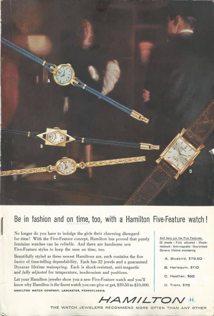1956 Hamilton Vintage Print ads