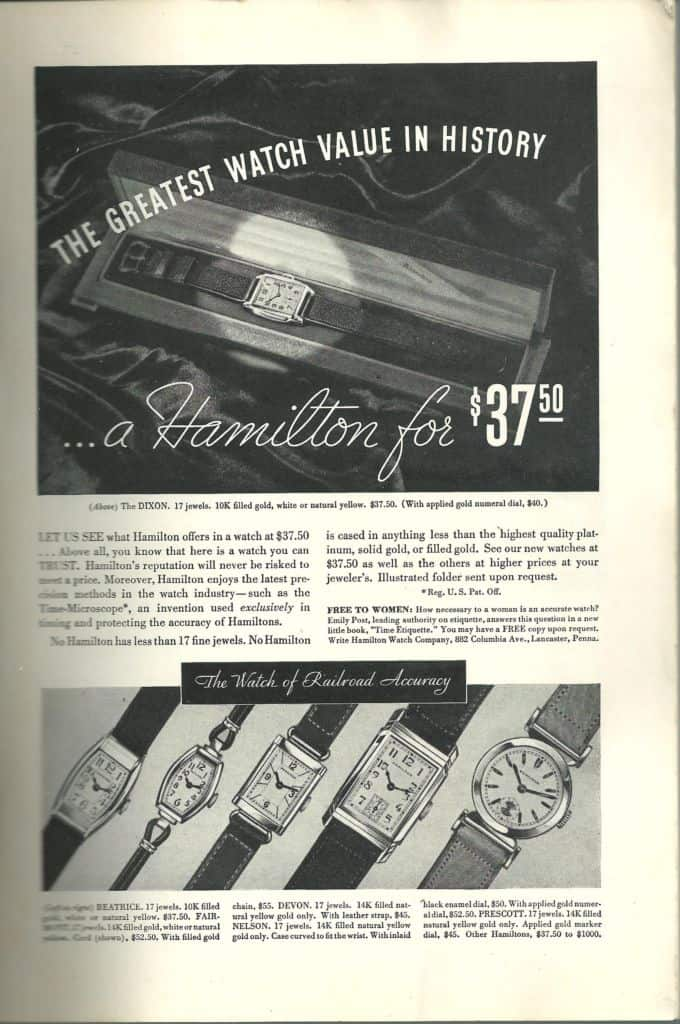 1935 Hamilton Vintage Print ads