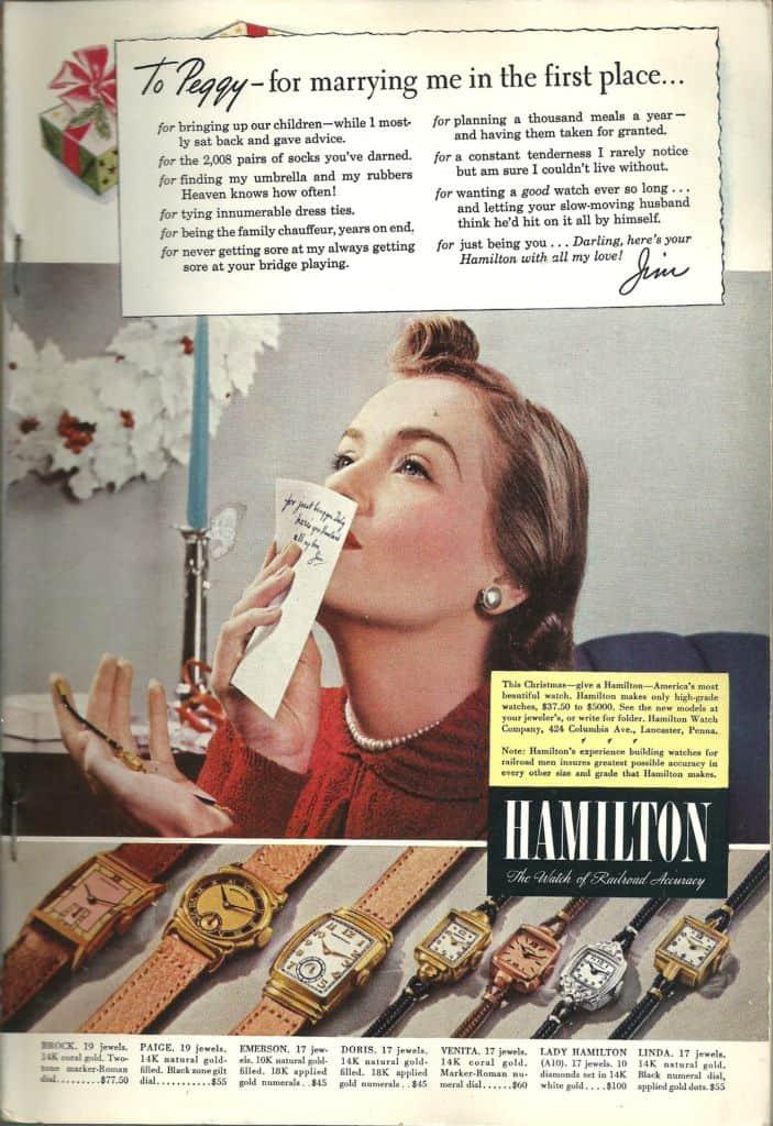 1940 Hamilton Vintage Print ads