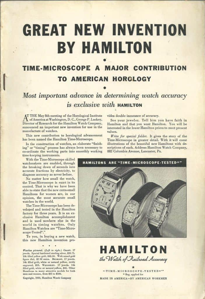 1933 Hamilton Vintage Print ads