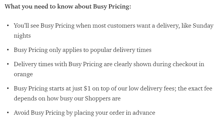 instacart busy pricing