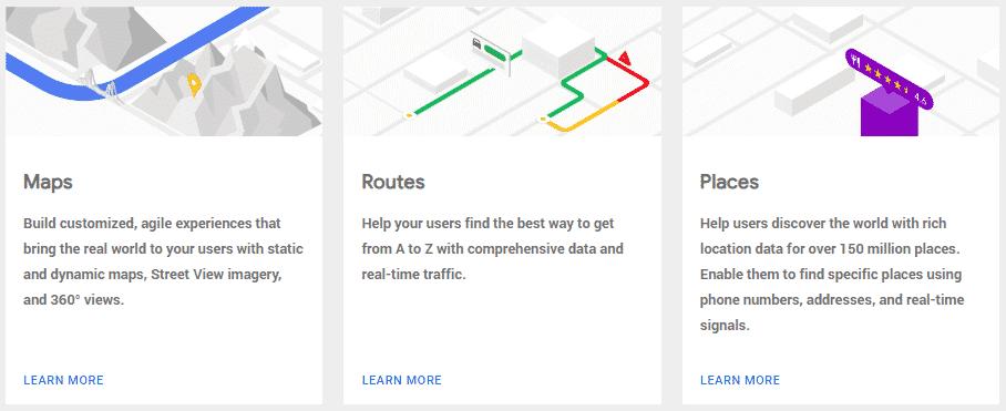 google maps api products