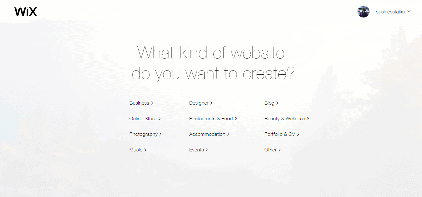 wix create website 1