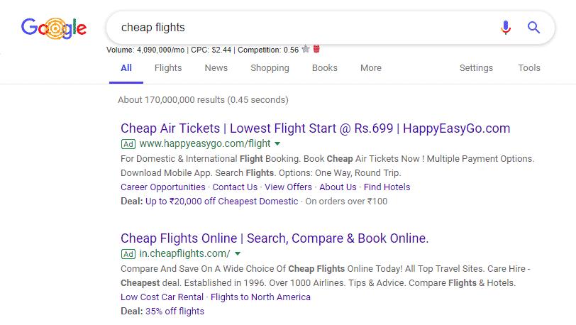 cheap flights ad