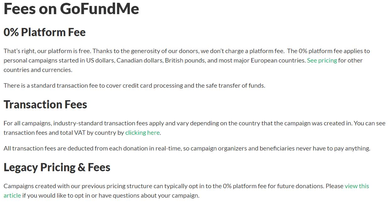 fees on GoFundMe