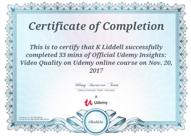 udemy certificate