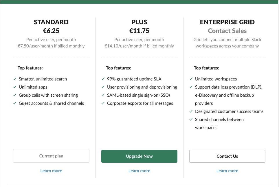Slack plans cost