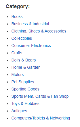 ebay selling categories