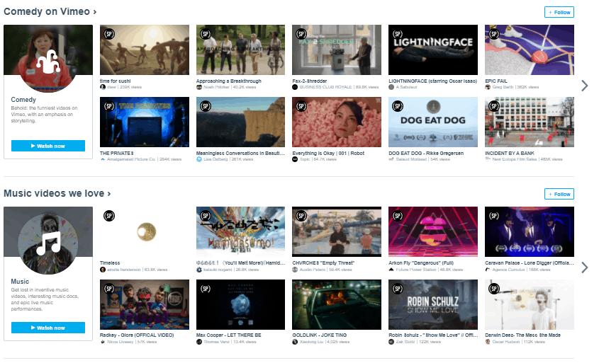 Vimeo interface