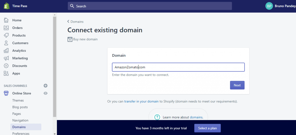 Connecting an existing domain to your new Shopify domain