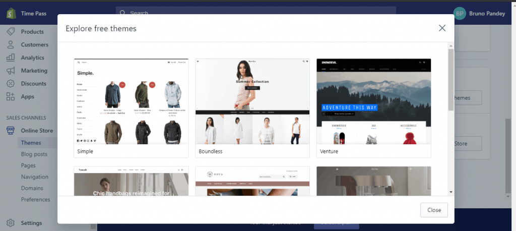 Free themes for your online store