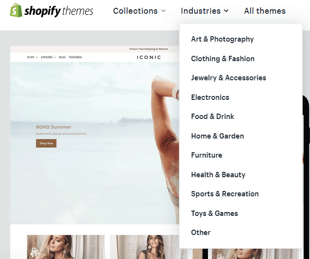 Industry-wise themes in Shopify