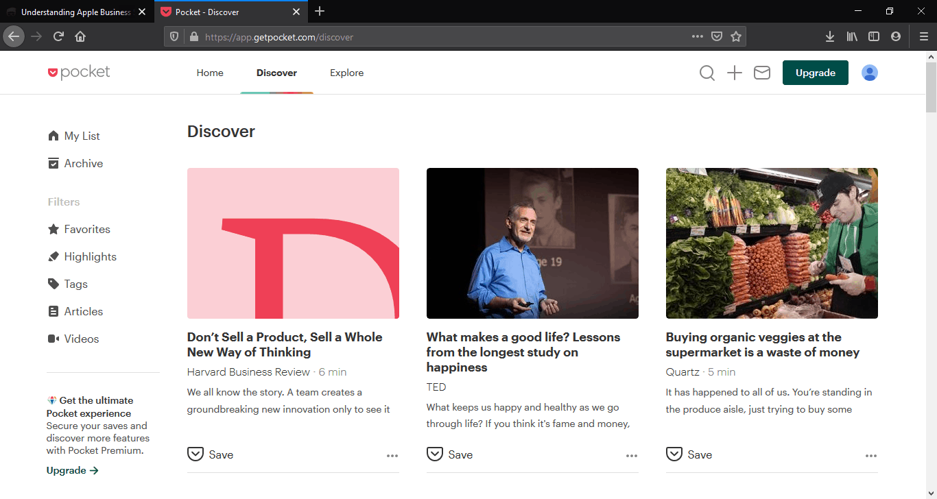 Discovery section in Pocket