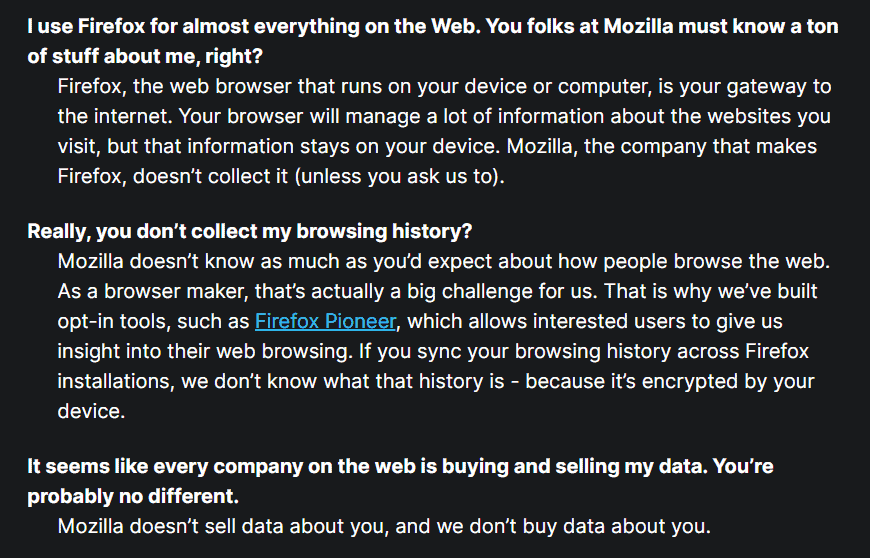 Mozilla privacy