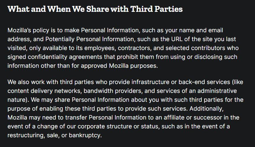 Thunderbird Privacy Policy