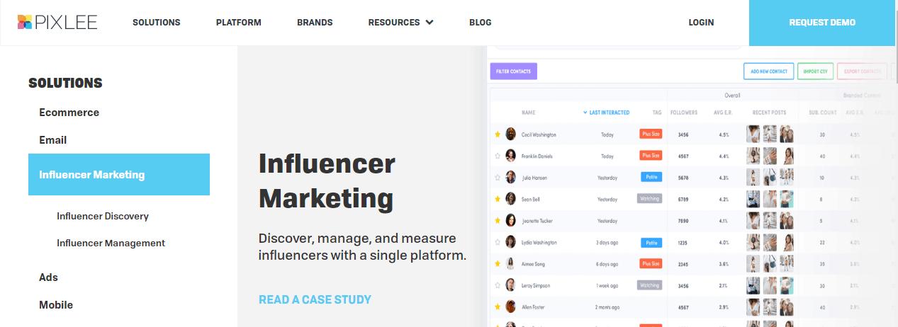 pixlee influencer management