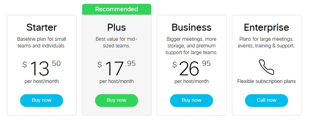 webex meetings pricing