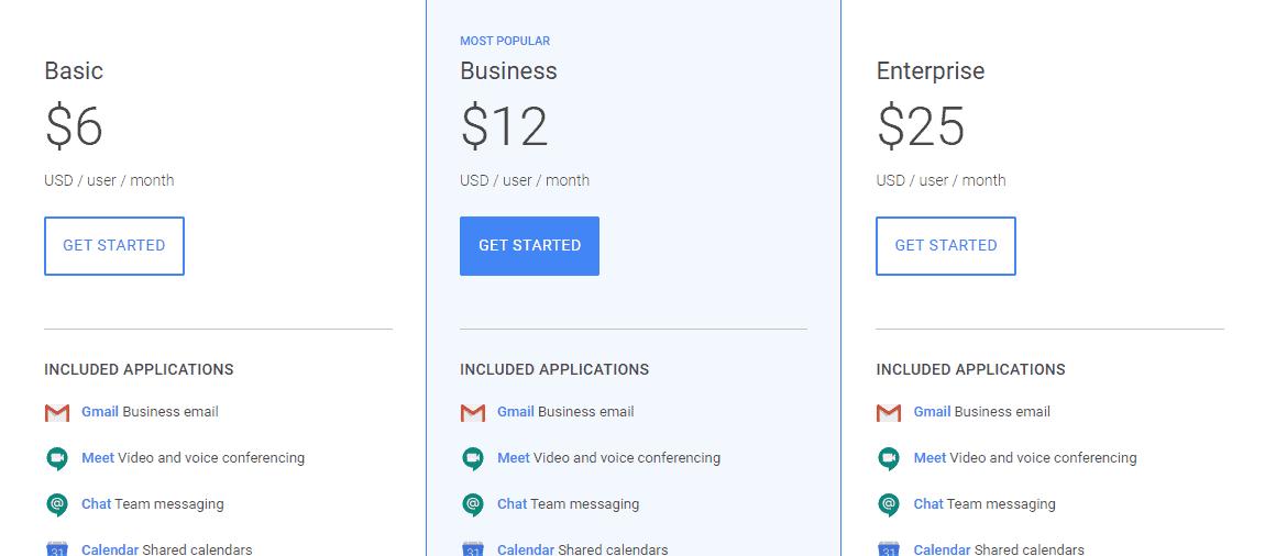 gsuite pricing
