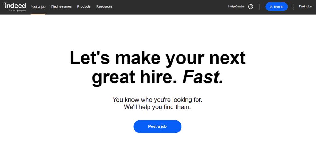 indeed job posting
