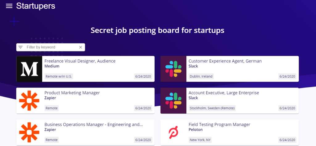 startupers job posting