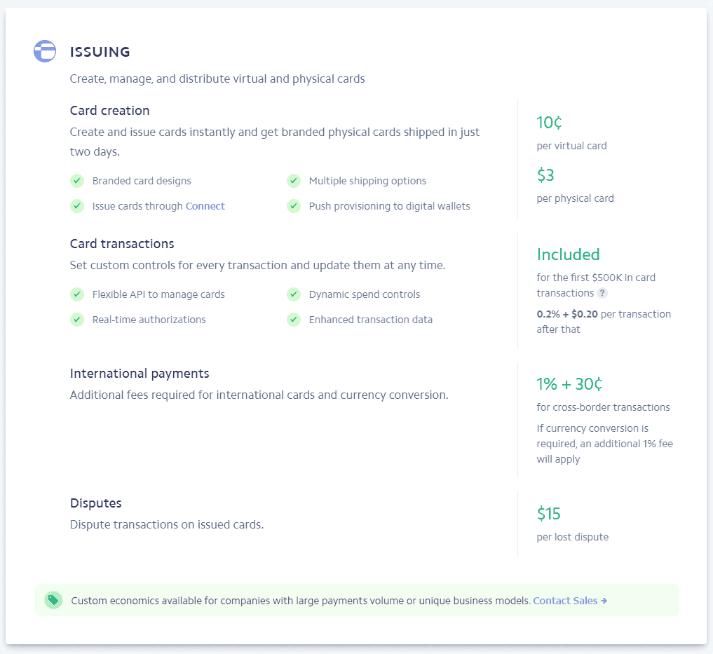 stripe issuing fees