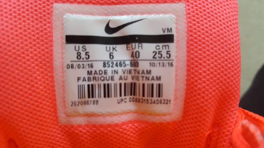shoe labelling