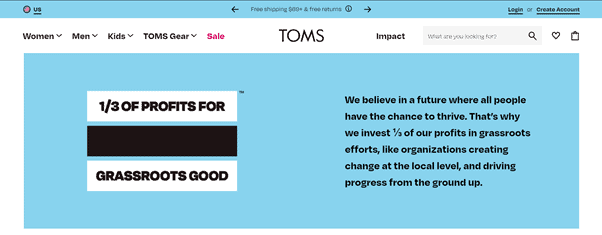 Toms' corporate social responsibility