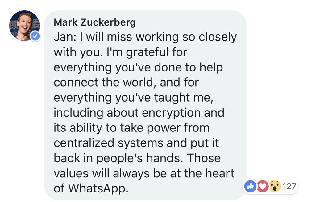 Mark Zuckerberg's reply to Jan Koum
